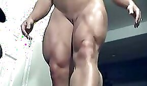 Outrageous muscle legs and pumped up booty of a hot gym rat
