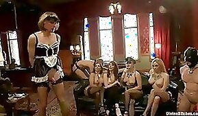 Femdom Fun in Reverse Gangbang for Two Guys by Plenty Kinky Girls